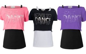 bf7804e7cfa3 Girls Dance T-Shirts Childrens Vest Double Layer Love To Dance ...