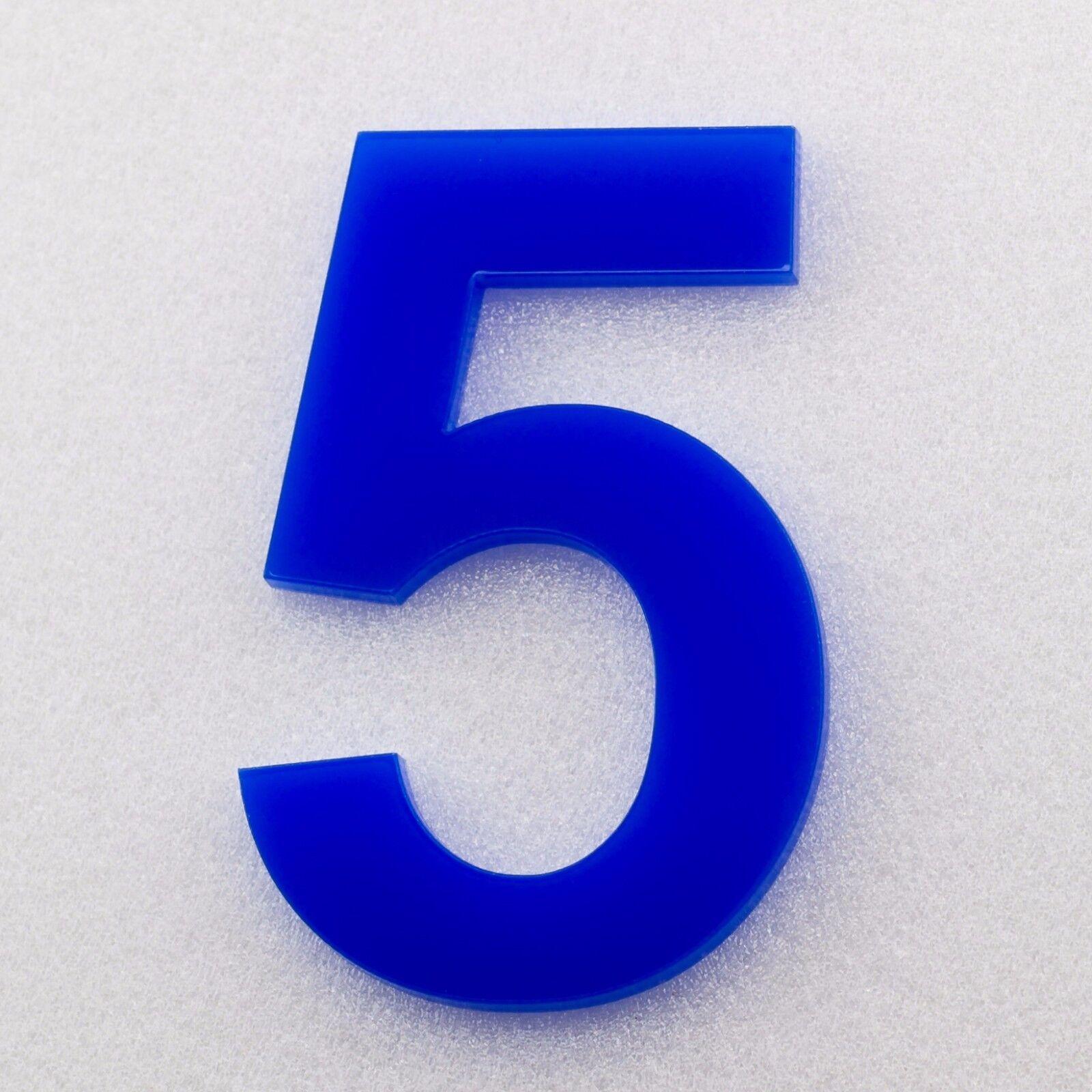 Hausnummer Acryl Hochglanz Blau 5H01 - Türnummer - Nummer - Plexiglas