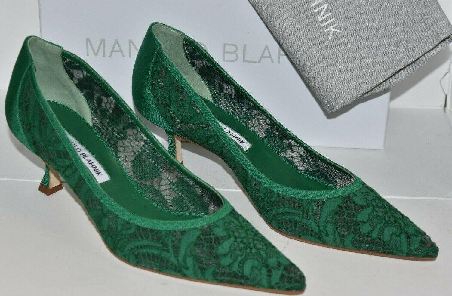 745 NEW Manolo Blahnik SRILA Lace Green Kitten Heels Pumps BB shoes 40 40.5