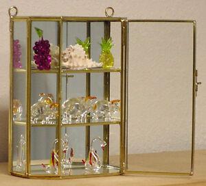 New Petite Glass & Brass CURIO CABINET for mini Figurines, sea ...