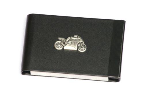 Motorbike 2 Design Black PU and Metal Business or Credit Card Holder Gift