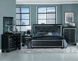 Details about GLITZY 4 PC BLACK MIRRORED LED LIGHTS KING BED N/S DRESSER  BEDROOM FURNITURE SET