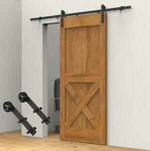 Carbon steel 6 6ft rustic sliding barn door kit hardware set interior basic new ebay for Interior sliding barn door kit hardware set