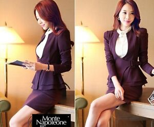 Elegante-Tailleur-completo-donna-viola-giacca-manica-lunga-gonna-7105