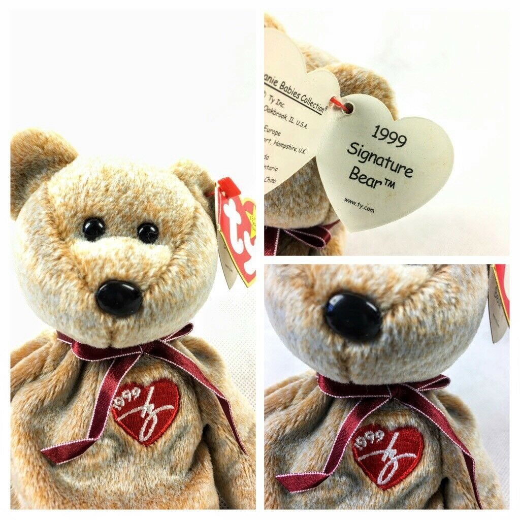 Ty Beanie Babies 1999 Signature Bear with  Gasport  error Retired Rare Plush Toy
