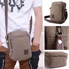 Small Brown Mens Military Canvas Messenger Shoulder Travel Hiking Mini Bag