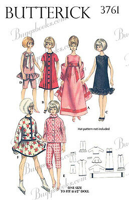 Butterick 3761 - 11 1/2 inch doll clothes sewing pattern - barbie, etc