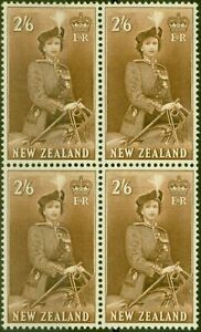 New-Zealand-1957-2s6d-Brown-SG733d-V-F-MNH-Block-of-4