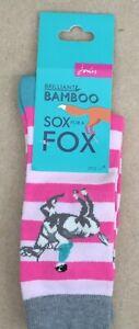 Joules-Brill-Bambu-Suave-Mujer-Calcetines-Ru-4-8-Rosa-Rayas-Gris-Caballo-Diseno