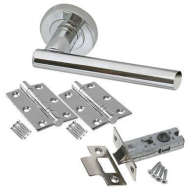 T Bar Internal Chrome Door Handle Packs - Latch Lock Bathroom Door Handle Packs