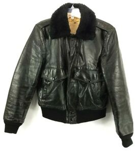 Vintage-EXCELLED-Leather-Men-039-s-Bomber-Motorcycle-Jacket-Sherpa-Lined-Black-Sz-42