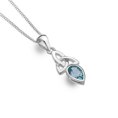 FäHig Blue Topaz Pendant Celtic Trinity Sterling Silver 925 Hallmark All Chain Lengths Verpackung Der Nominierten Marke
