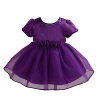 New Purple Satin Party Flower Girl Christening Dress 6-9 Months