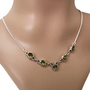 Peridot-Collier-Kette-Halskette-Silber-925-Kette-Schmuck-Cutstone-Gruen-TSP
