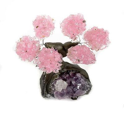 Beautiful Rose Quartz Gemstone Bonsai Tree On AMETHYST 6 Petals Brazil T28