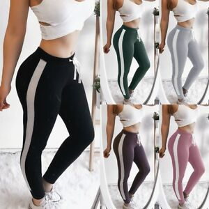 f785e36d7a3b33 Women's Stripe Running Pants Skinny Workout Leggings Yoga Fitness ...