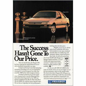 1989 Peugeot: Success Hasnt Gone To Our Price Vintage Print Ad