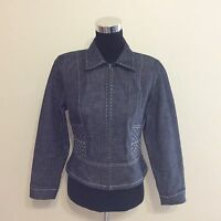 ELLEN TRACY Women's Blue Jean Jacket/White Detail Stitching Size 6 Petite