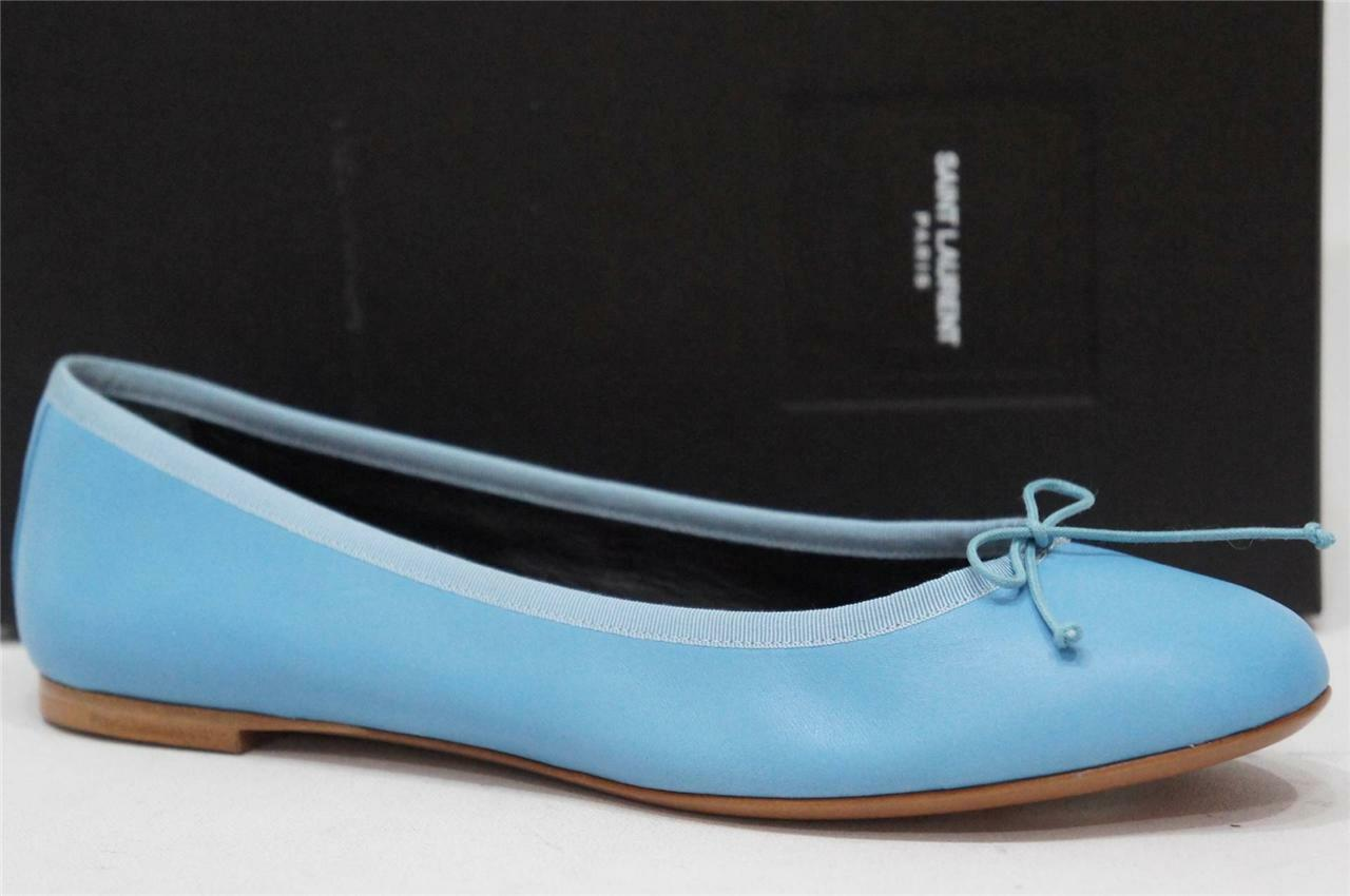 SAINT LAURENT BLU DANCE GLACIER LEATHER FLAT BALLET SCARPE 41 /10.5   395