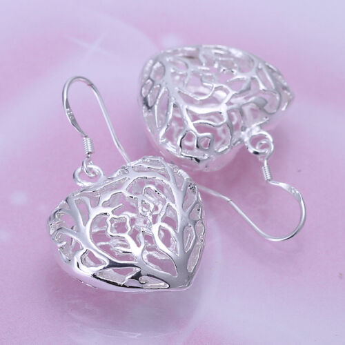 925 Stamped Sterling Silver Filled SF Filigree heart  Earrings E-A503