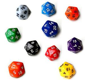 20-Seitige-Spiele-Wuerfel-W20-D20-Dice-Farben-Gruen-Rot-Blau-Gelb-Orange-Schw-Mix