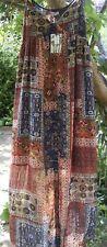 Alice&You Rust/Brown Multi Aztec Boho Festival Summer Maxi Dress size 12 (14)