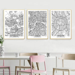 Rotterdam-New-York-London-Capital-City-Map-Wall-Art-Poster-Canvas-Print-Picture