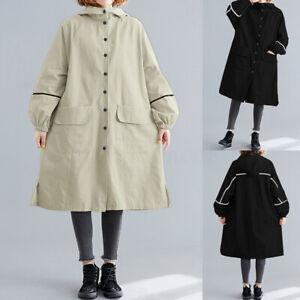 Mode-Femme-Manteau-Decontracte-lache-Manche-Longue-Col-Haut-Poche-Veste-Plus