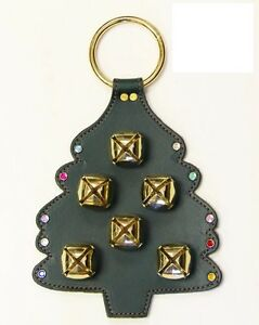 Christmas Tree Leather Door Chime W Stitching Crystal Ornaments 6 Brass Bells Ebay