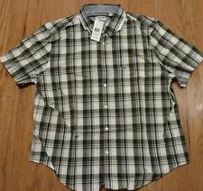 Mens Authentic Lacoste SS Button Up Plaid Poplin Shirt Boscage Green 38 Small