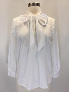 4a6111aa318 New J.Crew Cotton Tie Neck Top Blouse Shirt White Sz XXS J6236 | eBay