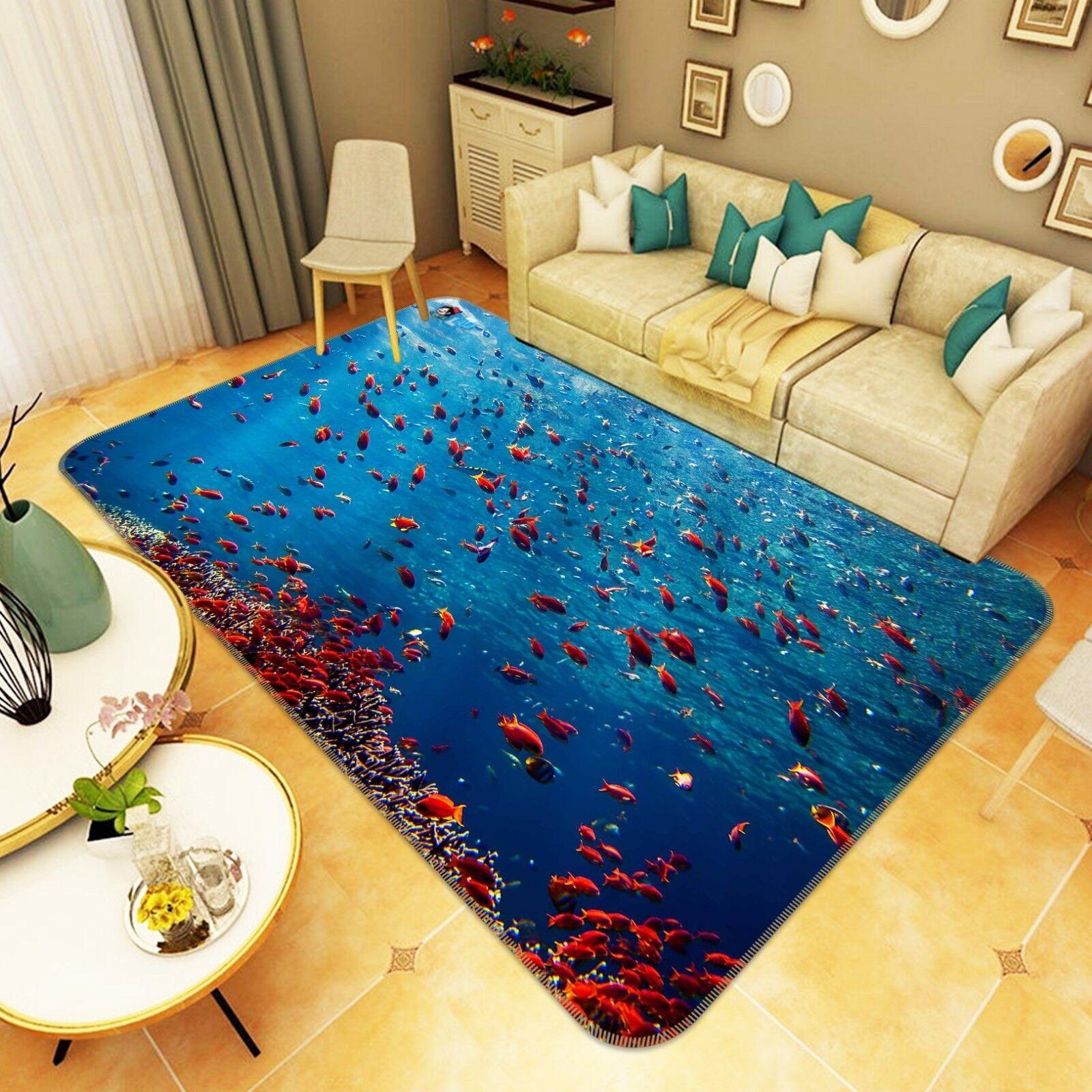 3D Pesce densa gruppi 4 tappetino antiscivolo tappeto camera Tappetino Qualità Elegante foto Tappeto UK