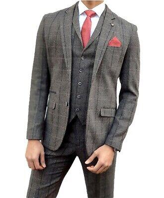 Mens Cavani Albert Grey Tweed Check Wedding Fashion 3 Piece Suit Peaky Blinders