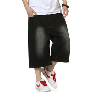 Plus-Size-Mens-Shorts-Jeans-Hip-Hop-Denim-Shorts-Loose-Fit-Simple-Black-W30-W46