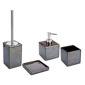 Set 4 accessori bagno da appoggio in ceramica fango e acciaio inox linea cuba ebay - Accessori bagno inox ...