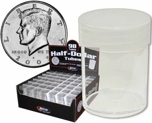 BCW Round Half Dollar Coin Tubes Clear with Frosted Screw On Lids 20 Lot of