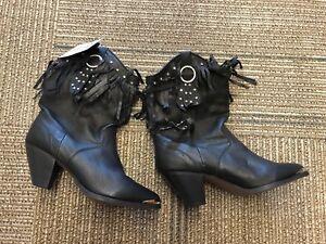 5 Stivali in slouch Wmn Sz 9 Fe frange nera con Western pelle Boot Cowboy Santa Co Pa7fUnW