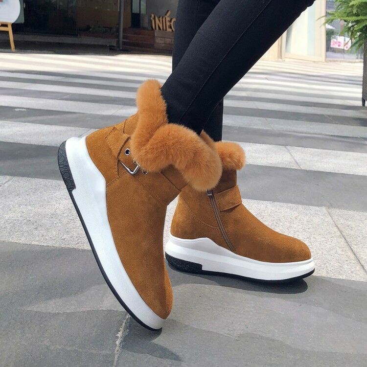 Womens Fashion Suede Leather  Real Fur Top Winter Warm Snow Boots shoes mssk