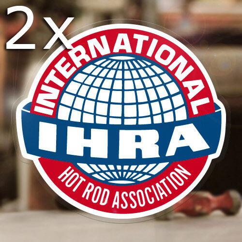 2x Stück IHRA International Hot Rod Association Aufkleber Sticker Old School V8