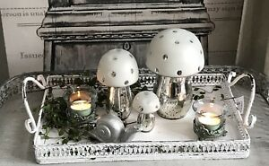 Grand paysans Argent Look verre champignon blanc 8 cm NEUF  </span>