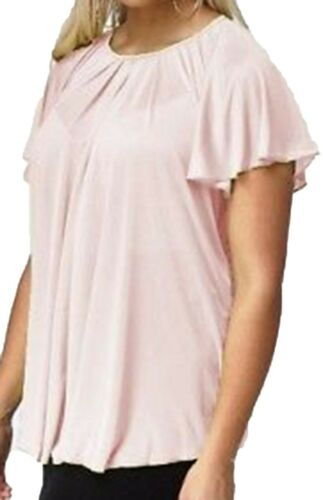 Womens New Summer Sheer Pink Tunic Top Short Flared Sleeve Ladies Plus Size