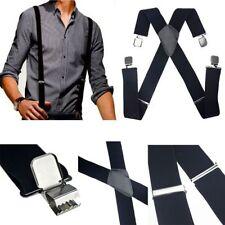 Mens Black Elastic Suspenders Leather Braces X-Back Adjustable Clip-on CHI