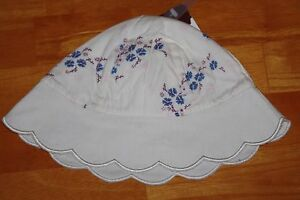 BNWT-BOOTS-BABY-GIRLS-SUMMER-HAT-CREAM-BLUE-FLORAL-3-6-MONTHS