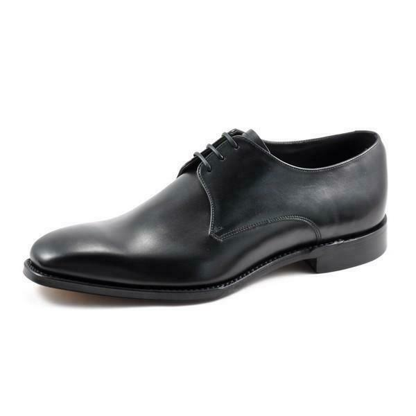 Loake Cornwall Negro Zapatos Goodyear Welted para Hombre Derby