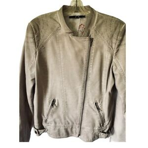 Yest-Womens-Moto-Jacket-Taupe-Asymmetric-Zip-Pockets-Faux-Leather-Plus-12-14