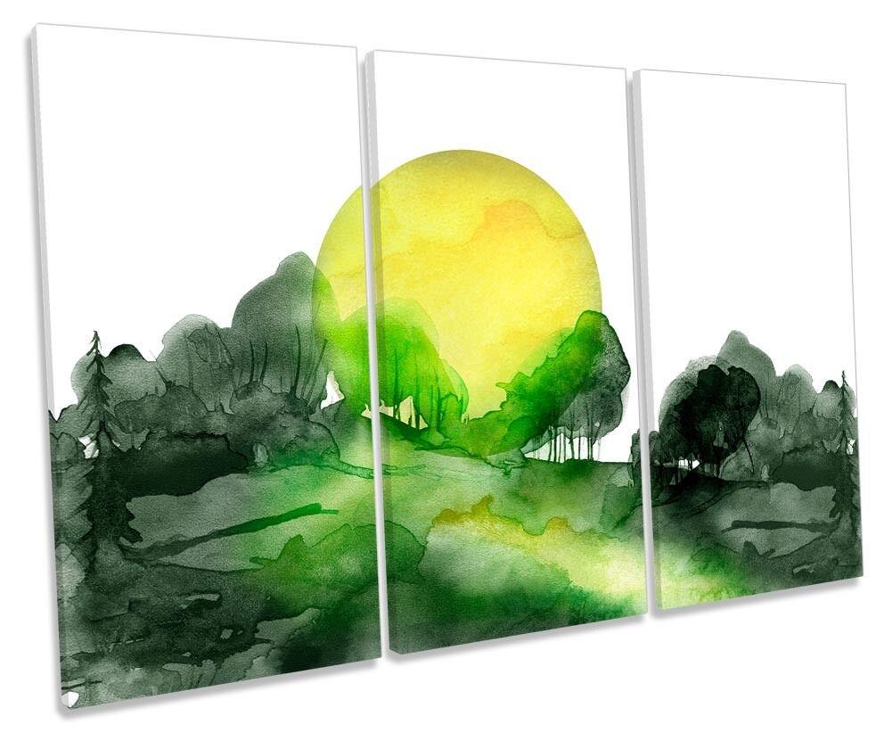 Grün Forest Sun Landscape Framed TREBLE CANVAS PRINT Wall Art