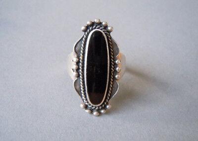 Großer 925 Sterlingsilber Ring Verzierung Mit Schwarzem Stein 6,5 G/rg 59 Durable Service Precious Metal Without Stones
