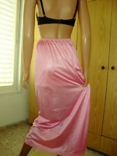 Pink Shiny Silky With Lace Hem Long Formal Length Half Slip Petticoat M-L BNWT