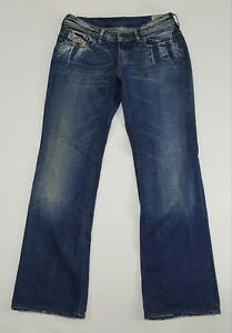 DIESEL-BEBEL-Womens-Bootcut-Jeans-Size-W30-034-L32-034-Low-Rise-Distressed-Md-in-Italy