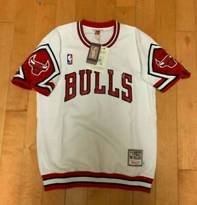 MITCHELL AND NESS CHICAGO BULLS 1989 SHOOTING SHIRT AUTHENTIC GAME WHITE M-4XL